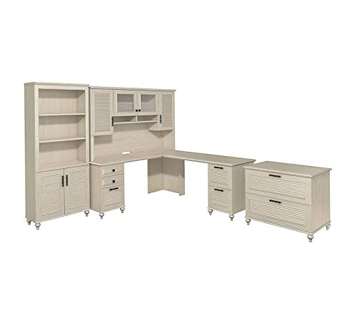 Wood & Style Furniture Dusk L Shaped Desk with Hutch, Bookcase & Lateral File Cabinet in Driftwood Dreams Premium Office Home Durable Strong