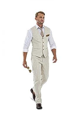 Casual Linen Beige Men's Piece Suits Wedding Suits Slim Fit Groomsmen Tuxedos Prom Blazer Custom Summer Linen Vest+Pant