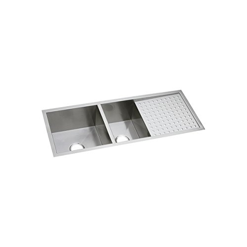 Elkay Crosstown EFU471810DBT 60/40 Double Bowl Undermount Stainless Steel Sink with Drainboard ()