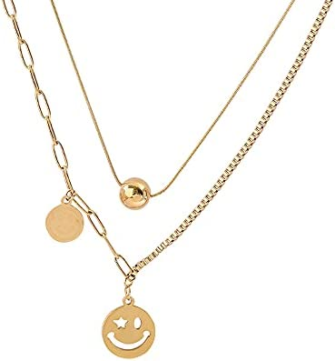JEMUZEWEL Gold Layered Necklace in 316L Titanium Steel Gold Chain Smile Layered Necklace for Women and Teen Girls