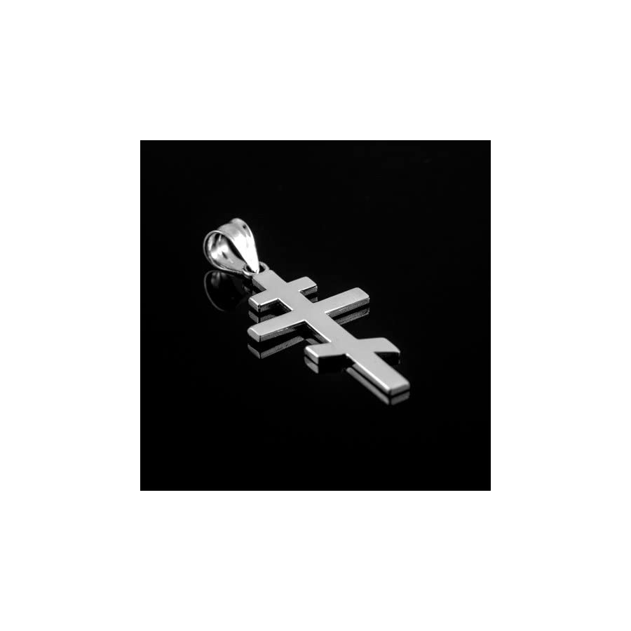 925 Sterling Silver Plain Russian Orthodox Cross Pendant Lifestyle