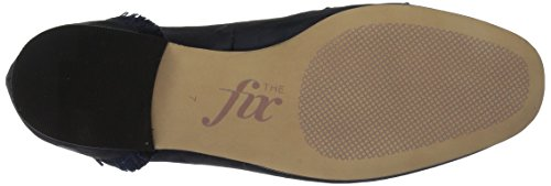 The Fix Womens Daphne Satin Frange Mocassino Flat Navy Camo Satin