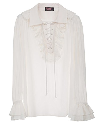 Men Gothic Renaissance Blouse Shirts Steampunk Long Sleeve Shirts Tops White L SL14 -