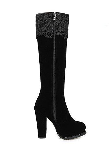 Robusto La Vellón Moda Vestido Uk4 Tacón Botas Mujer A Negro Eu36 De Zapatos Xzz us6 Cn36 Fiesta Black Noche Y pCIqFF
