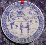 1989 Royal Copenhagen Christmas Drop Ornament -- The Old Skating Pond