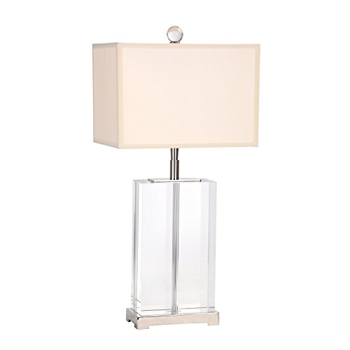 (ZBF Glass Lamp Lighting Rectangle Table Lamp 1202 Clear Crystal Lamp with Rectangle Shape White for Home Lighting Base E27 (Clear))