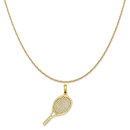 14k yellow gold solid polished 3 d tennis racquet pendant on rope next aloadofball Choice Image