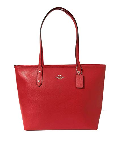 Coach City Crossgrain Leather Tote (SV/Bright Red)