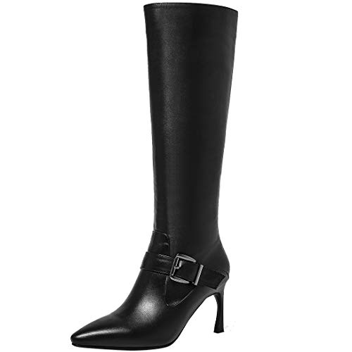 Black high Stiletto Womens ELEHOT Pointed Eleeight Leather Knee Boots Buckle Toe vFgwxTq