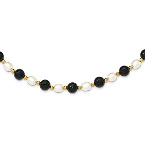 Mia Diamonds 14k Yellow Gold Polished Fancy -6.5mm White Fw Cultured Pearl and Onyx Necklace -17