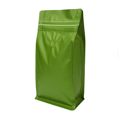 (Stand-up Storage Bags Pouches Airtight Coffee Bean Flower Tea Snack Dried Fruit Food with Degassing Valve 16 oz High Barrier 50 Pack Zipper)