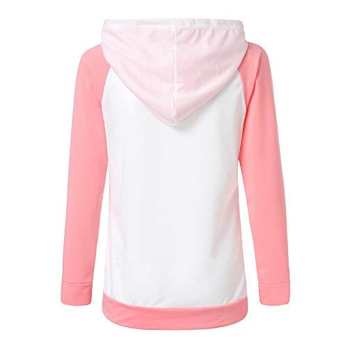 Kemilove Women Autumn Long Sleeve Pocket Patchwork Hooded Sweatshirt Pullover Tops Blouse Casual Hooded Coat Pullover by Kemilove (Image #4)