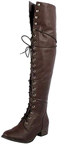 Breckelle's Women's Alabama-12 Knee High Riding Boots,7 B(M) US,Premium Brown (Combat Breckelles Boots Women)