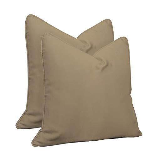RSH Décor Set of 2 Indoor Outdoor Karate Chop Decorative Corded Square Throw Zipper Pillow Covers + Soft Shapeable Faux Feather Inserts Made of Sunbrella Canvas Vellum ()