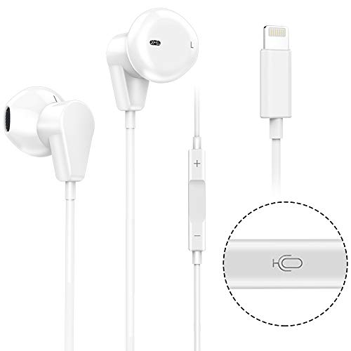 Lightning Earphone with Mic and Remote Control for iPhone 7 Headphones with Microphone for iPhone 8 Earbuds Noise Cancelling (Bluetooth Connectivity) by OfsPower