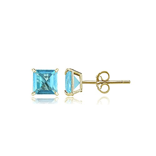 Gold Swiss Cut Earrings (Bria Lou 14k Yellow Gold Swiss Blue Topaz Gemstone 4mm Square-Cut Solitaire Stud Earrings)
