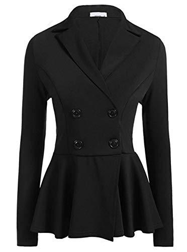 Pevor Women's Blazer Causal Peplum Work Office Business Military Style Blazers Long Sleeve Double Breasted Work Jacket Black 2XL from Pevor