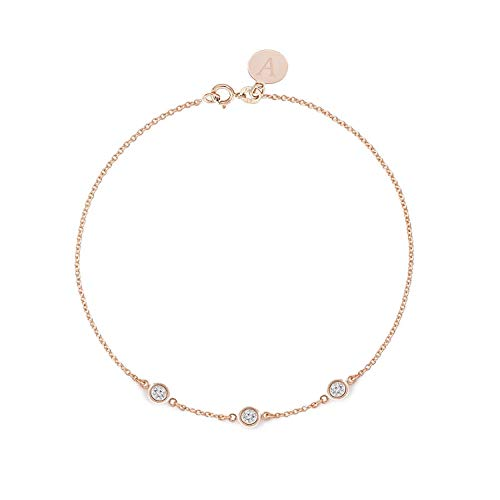 Diamond Bracelet 0.15ct - Solid 14k or 18k Rose Gold- Dainty and Simple Bezel Set - Free Customized Engraved Name and Initial or Message. ()