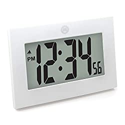 Marathon Large Digital Wall Clock with FoldOut Table Stand. Size is 9 inches with Big 3.25 Inch Digits. Batteries Included. Frame Color – White. SKU CL030064WH