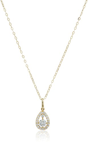 10k Gold AAA Cubic Zirconia Teardrop Pendant Necklace, 18