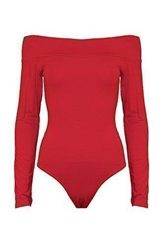Neu Damen Damen Offene Schulter Bardot Langärmlig Dehnbar Body Oberteil - Rot - Langärmlig Schulterfrei body Hemd Größe, 40/42