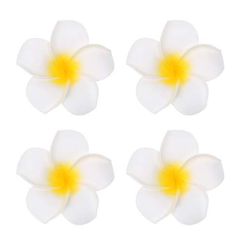 Kimnny Flowers Hair Clips, 4 Pieces/Lot Foam Artificial Plumeria Headwear Hair Clip Wedding Decoration Hawaiian Foam Flower C# (Plumeria Clasp Necklace)