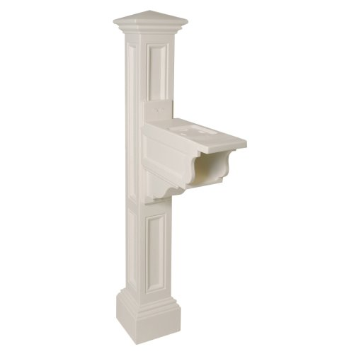 Mayne 5846-WH Charleston Plus Mailbox Post, White 4' Ground Sleeve