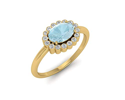- Euforia Jewels IGI Certified 14K Fine Gold Natural Acqumarine 7X5 mm Oval Cut and 0.08 Cts Natural Diamond I1-I2/G-H Round Cut Ring Friendship Day Gifts