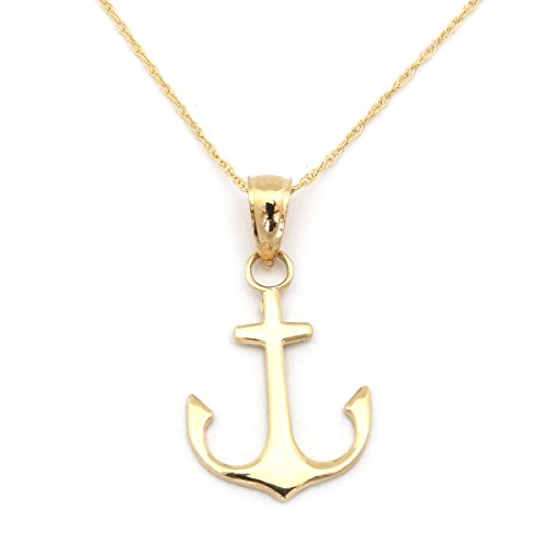 Flat Anchor Chain Gold - Beauniq 14k Yellow Gold Flat Polished Anchor Pendant Necklace - Pendant only