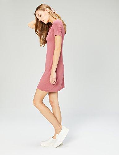 Short Neck Women's Dusty Ritual Jersey Sleeve Daily T Shirt Pink V Dress CqAHFS