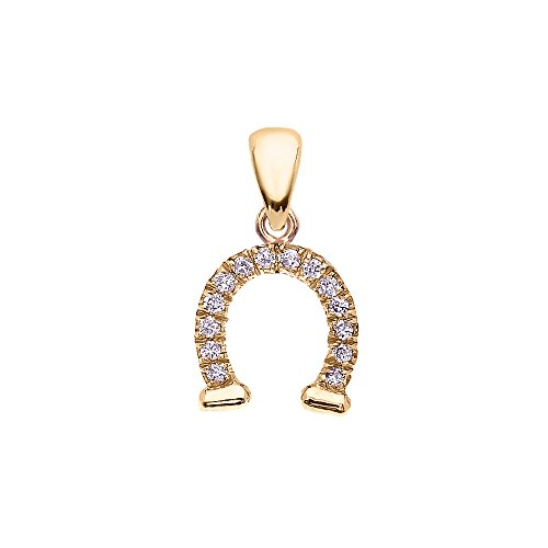 Reversible Diamond And High Polish Plain 14k Yellow Gold Horseshoe Good Luck Charm DaintyPendant ()
