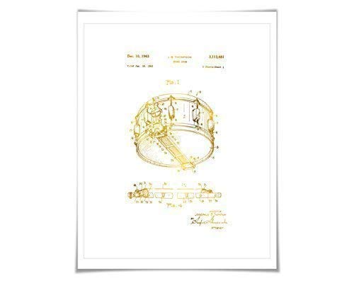 (Snare Drum Gold Foil Patent Illustration. 7 Foil Colours. Music Poster. Drummer Art Print )