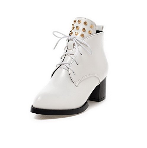 AgooLar Women's Pu Low Top Solid Lace-up Kitten Heels Boots White 9iCmYB