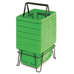 22 Liter Grocery Hand Baskets Green Set of 12
