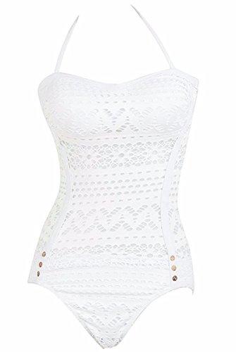 f4354a4fcadd ... DATO Damen Retro Badeanzug Push Up Bikini Neckholder Bademode Einteiler  Schwimmanzug mit Spitzendetails Weiß b2iv7nSWI ...
