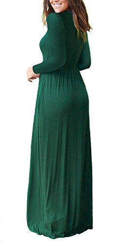 Women's Plain Maxi Sleeve Sleeve long Loose Casual Long Green HAOMEILI Dark 4 with Pockets Dresses Long BYwxBId