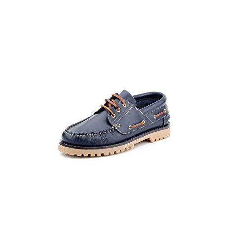 Zapatos Náuticos de Piel para Hombre Piso Grueso, mod.848, Made in Spain, Garantia de Calidad. Azul Marino