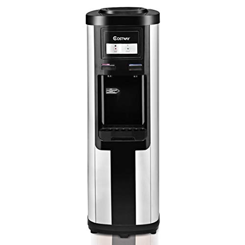 Costway 5 Gallon Water Cooler Dispenser Top Loading Stainless Steel Freestanding Water Dispenser w/Hot and Cold Water - Water Cooler Quiet