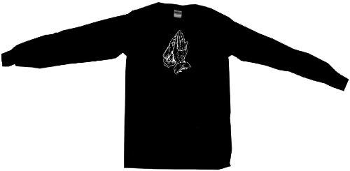 Praying Hands With Beads Women's Babydoll Tee Shirt XXL-Black Long Sleeve