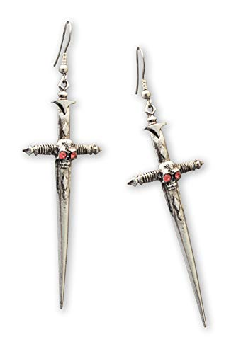 Gothic Skull on Sword Medieval Renaissance Pewter Earrings ()