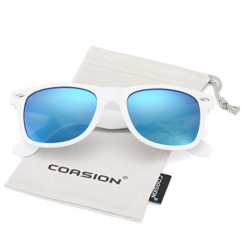 - COASION Classic Polarized Sunglasses for Men Women Retro UV400 Brand Designer Sun Glasses (White Frame/Blue Mirror Lens)