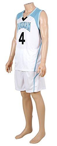 Kuroko no basuke Cosplay Akashi Rakuzan Basketball Jersey No.4 White XX Small