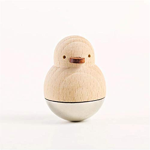 (Home Décor Animal Sculptures Small Duck Ornaments, Cute Decorative Accessories Wood Tumbler Doll Toy with Metal Base, Hand Carved Figurines Collectible Statue Gift for Table Office Desktop Decoration)