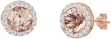 Women 6MM Rose Gold Cubic Zirconia Round Simulated Morganite Halo Stud Earring