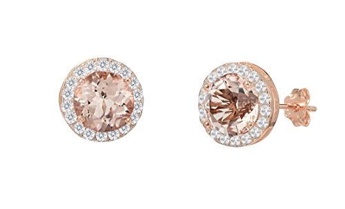 New NYC Sterling Women Rose Gold Plated Cubic Zirconia Marquis Simulated Morganite Halo Stud Earring (Round)