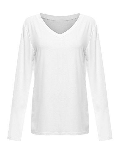 Floerns Women's V Neck Short/Long Sleeve Casual T-shirt Small White-Long - V-neck Long T-shirt