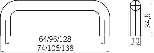 Kunststoff SIRO M/öbelgriff H/ösbach Wei/ß 138 mm x 10 mm x 35 mm Schlicht LA 128 mm H121-138A4V2