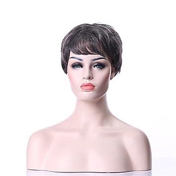 GSP-sin tapa de la moda peluca gris sintética del pelo rizado peluca llena corta
