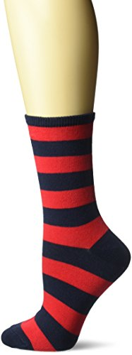 (Hot Sox Women's Originals Fashion Crew Novelty Socks, College Rugby Stripe (Navy/Red), Shoe Size: 4-10)