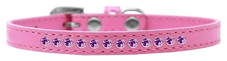 Mirage Pet Products Purple Crystal Bright Pink Puppy Dog Collar, Size 16 by Mirage Pet Products